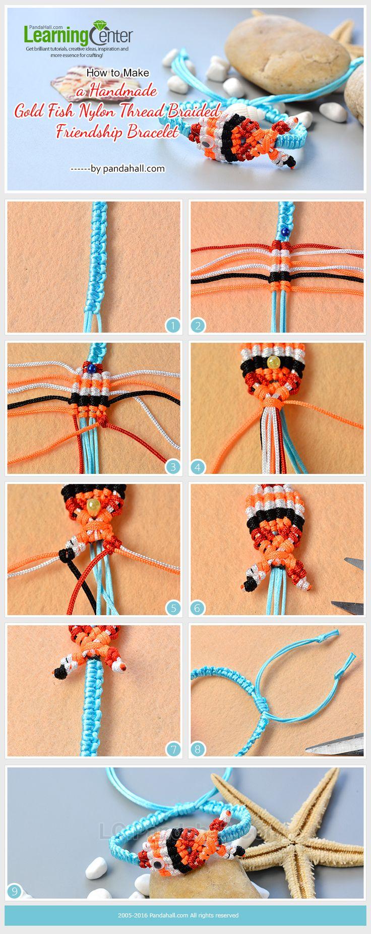 How to Make a Handmade Gold Fish Nylon Thread Braided Friendship Bracelet