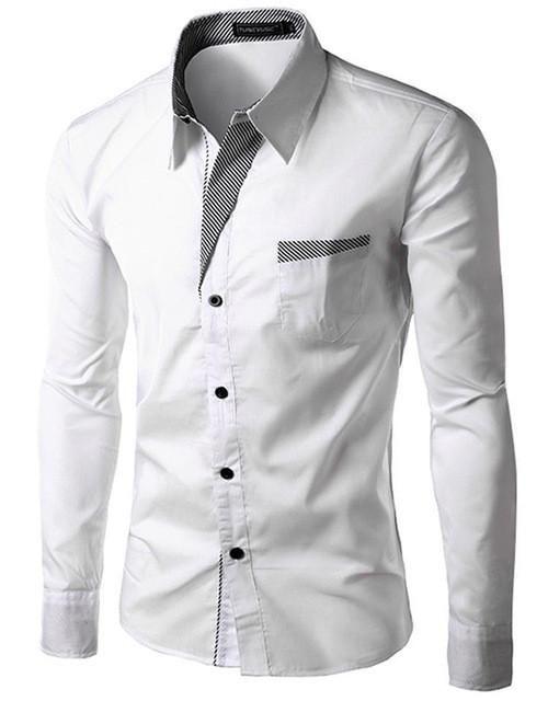 Brand 2017 Dress Shirts Mens Striped Shirt Slim Fit Chemise Homme Long sleeve Men Shirt Heren Hemden Slim Camisa Masculina M-4XL