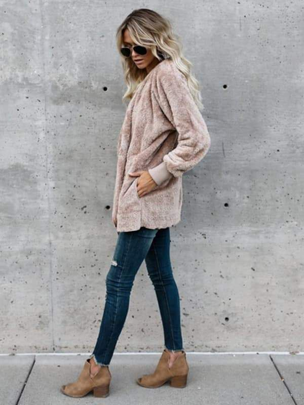 e9a0fd1419 Hooded Fluffy Jacket In Fleece Fur fuzzy sherpa jacket outfit cardigan coat   women  fashion  womensfashion  falloutfits  winter  outfitideas  jacket    ...