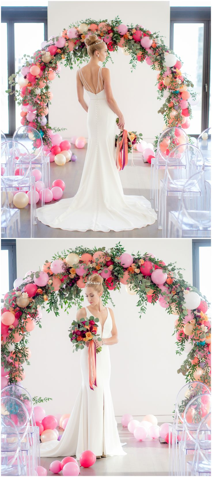 Modern wedding dress, sexy and elegant, plunging neckline, balloon arch // Andrea DeLong Photography
