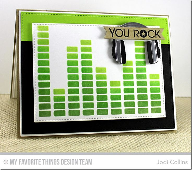 Keep on Rockin', Headphones Die-namics, Stitched Rectangle STAX Die-namics, Equalizer Stencil - Jodi Collins #mftstamps