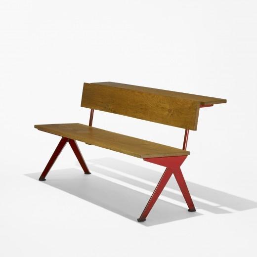 JEAN PROUVÉ    bench    Ateliers Jean Prouvé  France, c. 1954  oak, enameled steel  56.5 w x 27.5 d x 29.25 h inches