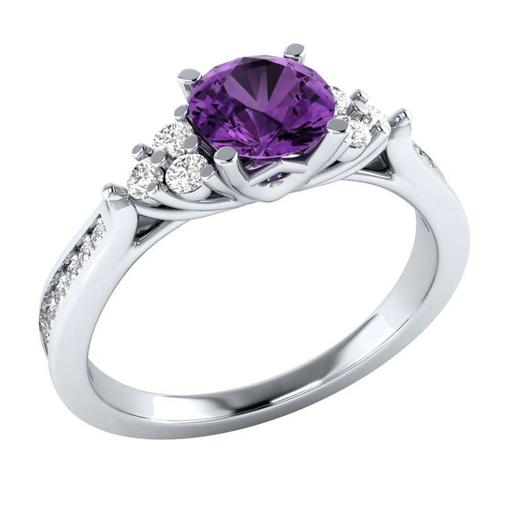 1.00 Ct Real Solitaire Purple Amethyst W/ Diamond 14k White Gold Wedding Ring #Demirajewels #SolitairewithAccents