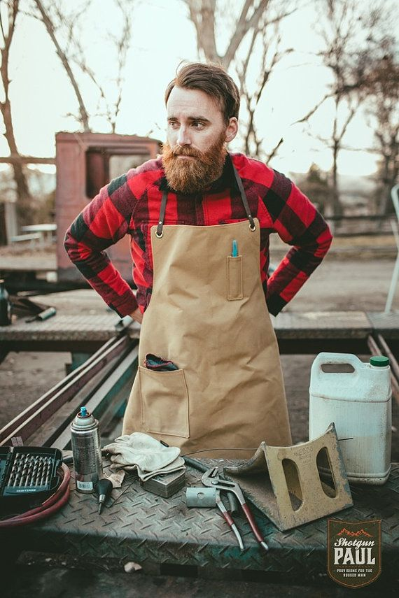 Tan Duck Canvas Men's Apron with Leather Straps by ShotgunPaul