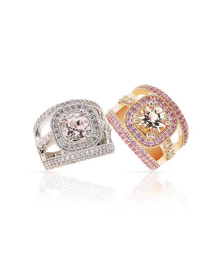 Morganite represents charm and tenderness. Jenna Clifford Designs   Fine Jewellery › Rings