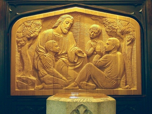 At St. Luke's Church, 1961, Bas Relief, Leo Mol wood carving of Jesus and children