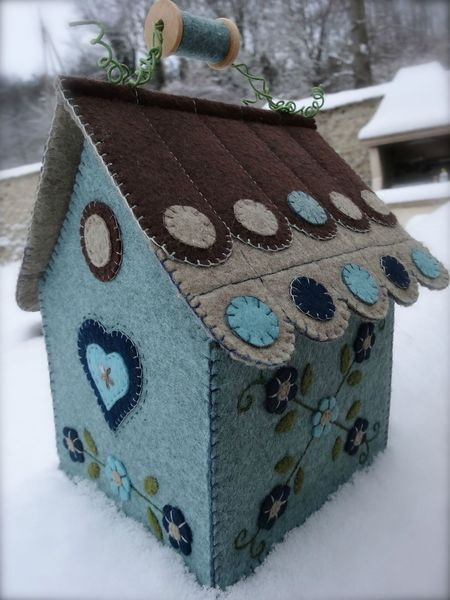 DSC00180....A pretty birdhouse that is embellished with felt.