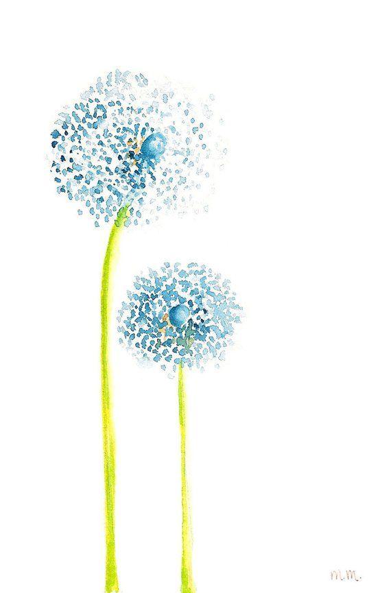 Ähnliche Artikel wie Dancing Blue Dandelions ( original watercolor painting, 4i… – Ostern2019