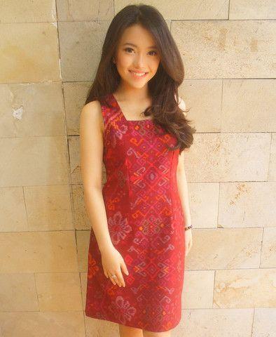 Essential Tenun Dress Red (Sleeveless)   batik kultur
