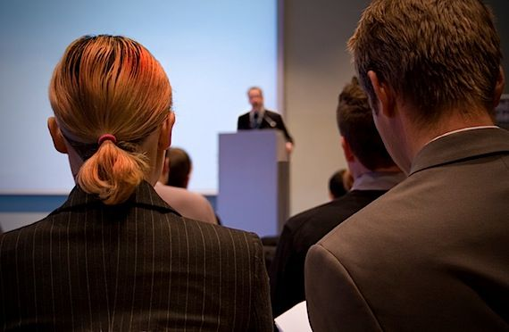 5 Rules for a more effective presentation.  Here's a hint: no more than six words on a slide!