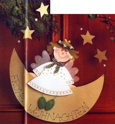 angel sitting on the Moon -Christmas paper craft pattern