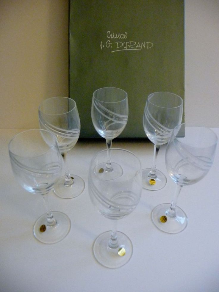 j g durand cristal nib montelimar set of 6 white wine bar cut crystal glasses jgdurand. Black Bedroom Furniture Sets. Home Design Ideas
