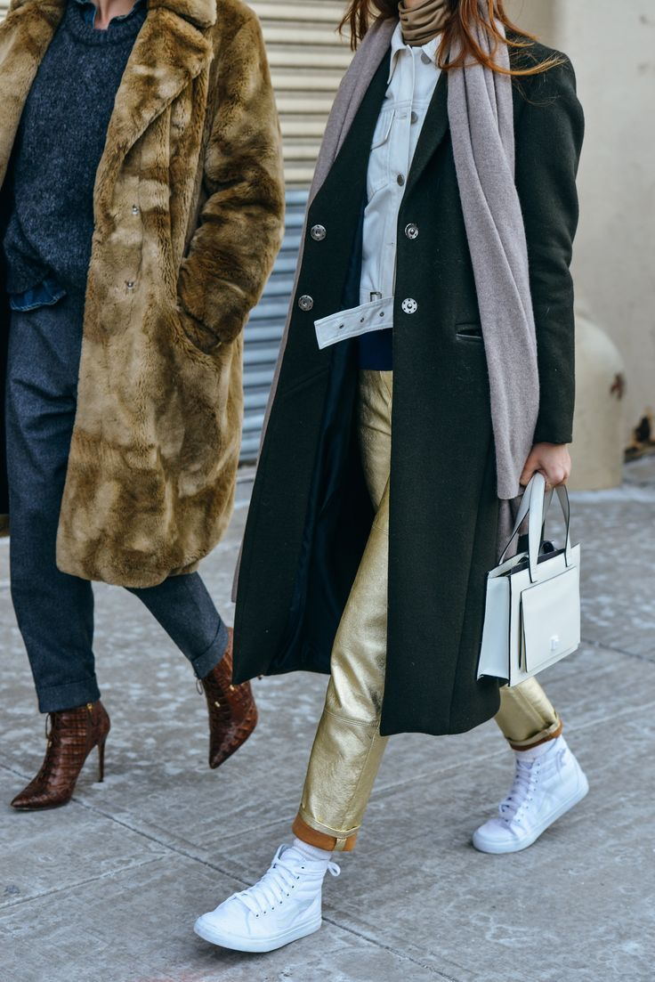 gray loose pants + gray sweater + dark denim chambray shirt + faux fur coat + mahogany caged pointed toe heels + white denim jacket + gold turtleneck + gold patent leather pants + socks + white high tops sneakers + black trench coat + oatmeal gray scarf + white boxy handbag