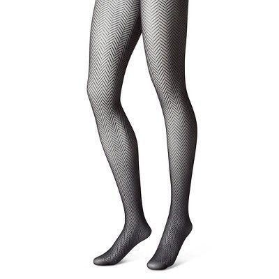 Women's Tights Black Herringbone M/L - Merona