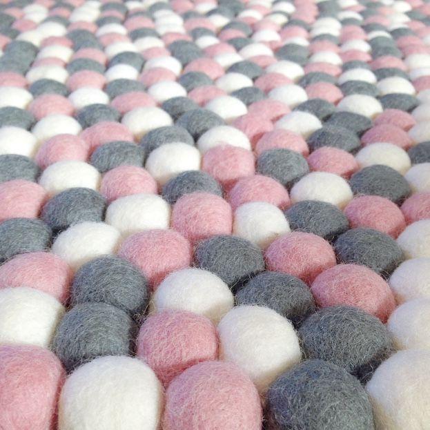 Felt Ball Rug in Light Pink, Grey & White - Round - Little Rosie & Me