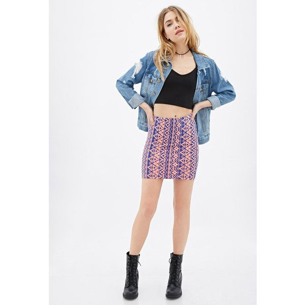 Forever 21 Women's  Abstract-Geo Print Mini Skirt ($5.99) ❤ liked on Polyvore featuring skirts, mini skirts, print skirt, white skirt, tribal print skirts, forever 21 skirts and short white skirt