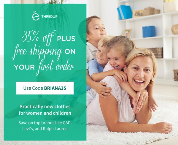 Visit Thredup.com use promo briana35 at checkout to enjoy 35% off, and Free Shipping! buy and sell high quality clothing for the Whole Family!