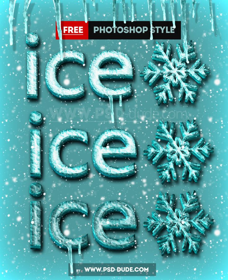 Free Ice Frozen Photoshop PSD Mockup