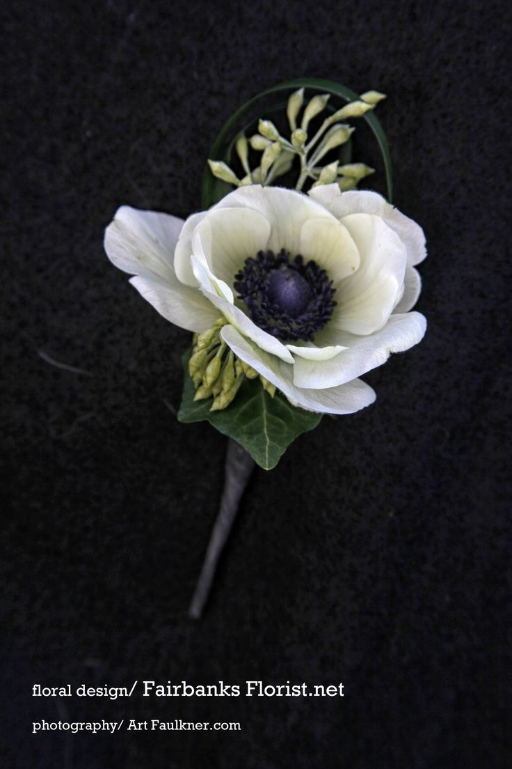 white anemone boutonniere, photographed by ArtFaulkner.com, designed by Lana with Fairbanks Florist.