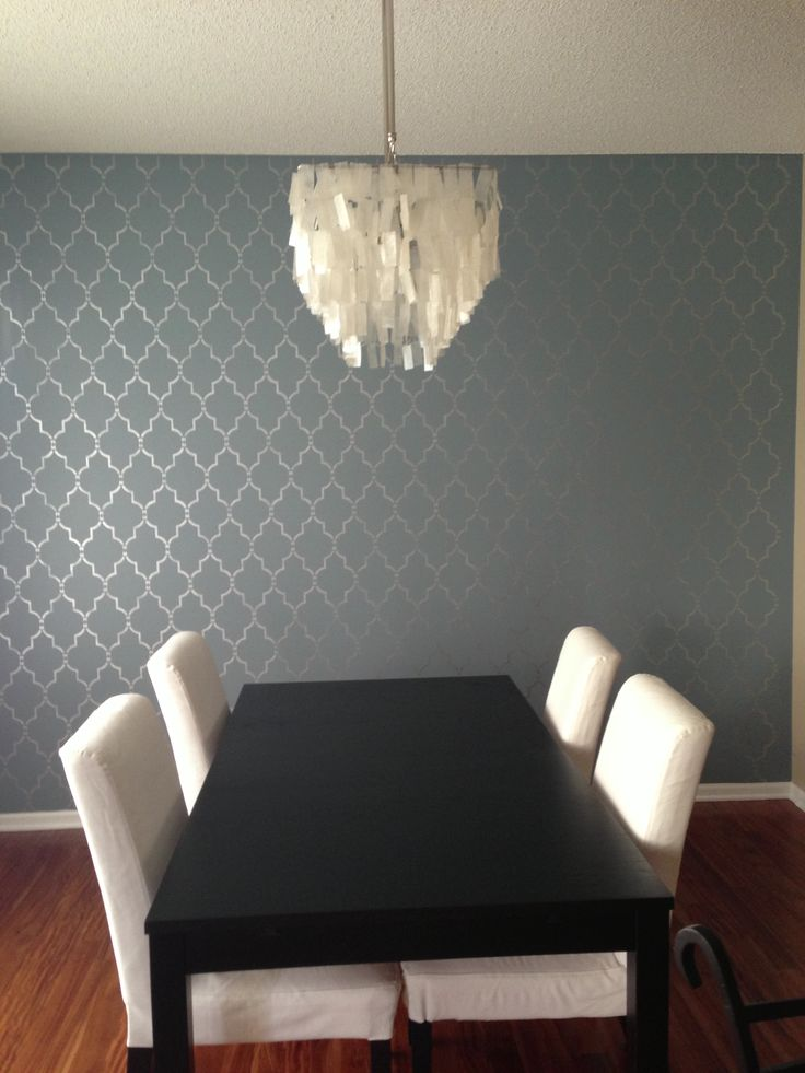 My dining room accent wall that I just stenciled!