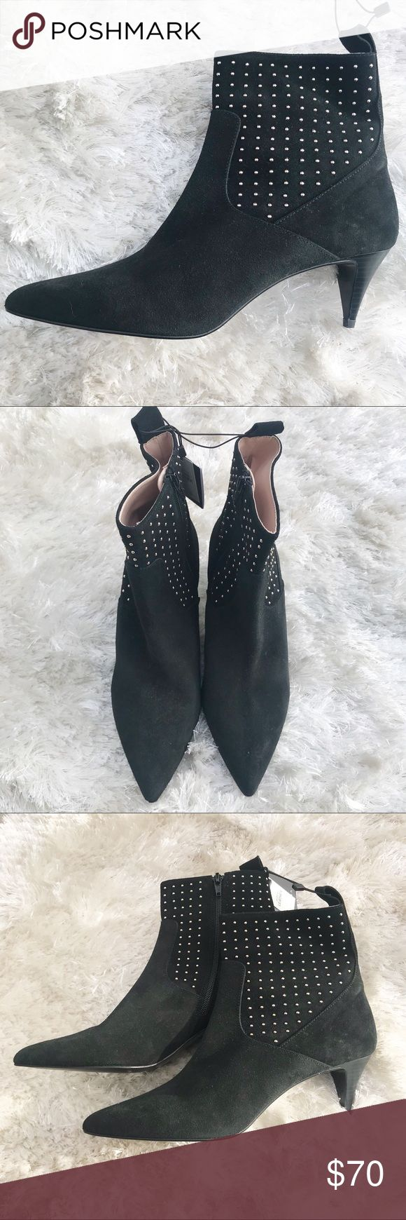 NWT || ZARA Silver Stud Ankle Boots Zara Elastic Black Leather Suede Booties with silver stud Detail. Sizes 39 (8) and 41 (10) available. Please see Zara size chart prior to purchase. New with tags. Zara Shoes Ankle Boots & Booties