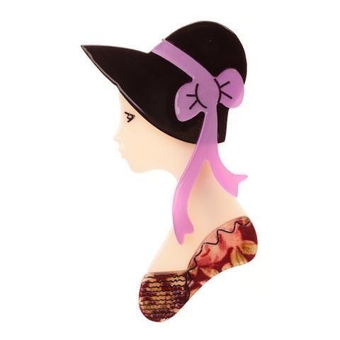 VERY RARE - Erstwilder Brooch - Polyanna - Lady in Hat