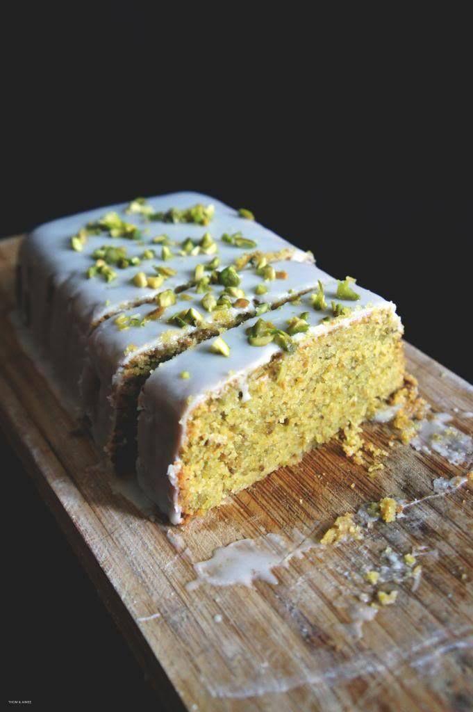 Lemon-Pistachio Polenta Cake with Lemon Icing