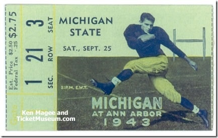 Michigan State vs. Michigan Football Ticket, Sept. 25, 1943. This game was cancelled. Michigan State cancelled their entire football schedule in 1943, due to World War II. MSU had only one returning player. Michigan rescheduled a game with Western Michigan instead. Rather than re-issuing tickets, the Michigan vs. Michigan State ticket shown here was valid for entry to the Michigan vs. Western Michigan game.
