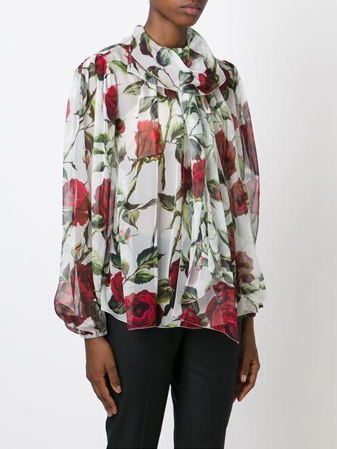 прозрачная блузка с принтом роз