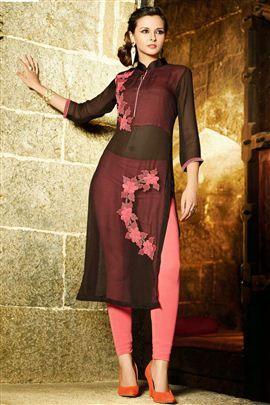 Buy Online Tempting Black Color #Georgette #Kurti @Best Price.
