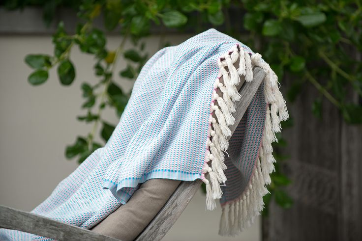 Ottoloom Como Throw in Aqua. Hand loomed in Turkey with 100% GOTS certified organic cotton.