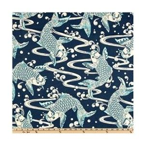 Waverly Sun N Shade Kool Koi Lagoon - Discount Designer Fabric - Fabric.com