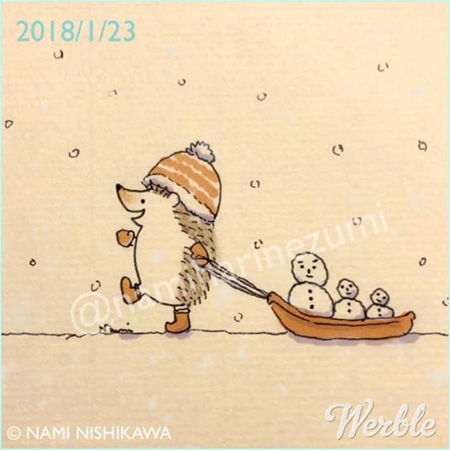 1391 #雪だるま 2 #snowman 2 #illustration #hedgehog #イラスト #ハリネズミ #なみはりねずみ #werble