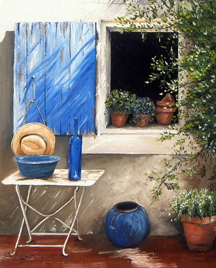 """Reproduction sur toile """"Volet bleu"""" Site : http://www.lysandcreations.com/boutique/liste_rayons.cfm?"""