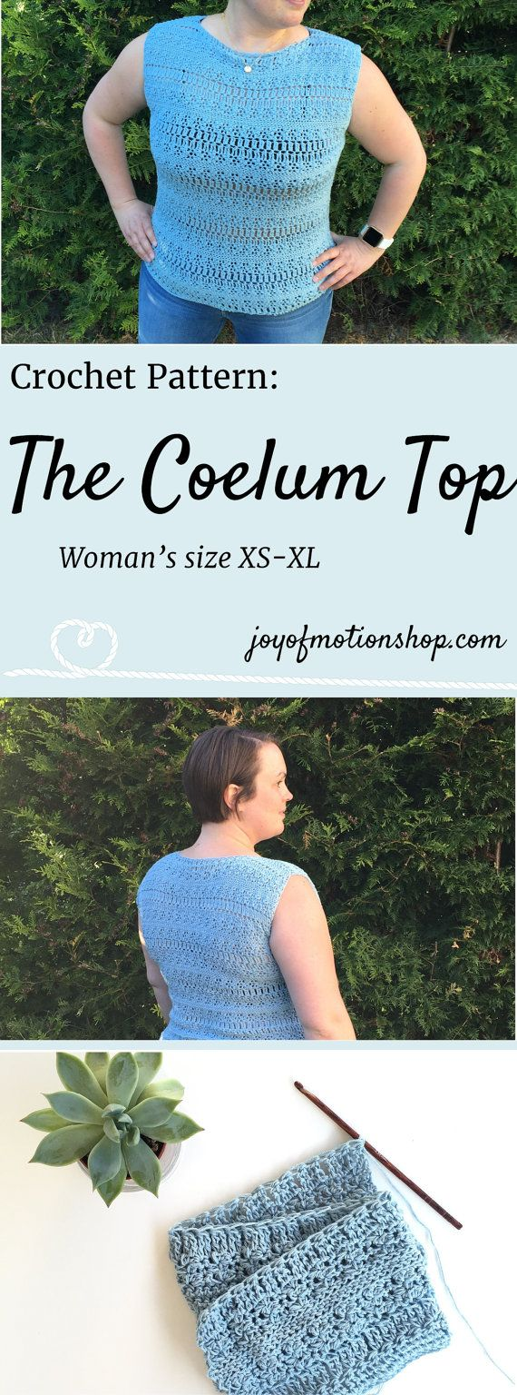 The Coelum top a crochet pattern. Woman's top crochet pattern with skill level easy.. Make this fashionable crochet top with your own crochet hook & yarn. Top crochet pattern easy for her. Top crochet pattern easy for her. | crochet top | woman's crochet top | crochet pattern for her | fashionable crochet top | interesting crochet top | Click to purchase or repin to save it forever.