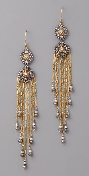 Miguel Ases Pyrite Quartz Tassel Earrings | SHOPBOP