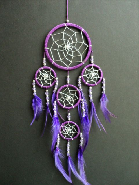 Hey, I found this really awesome Etsy listing at https://www.etsy.com/listing/175373069/purple-dream-catcher-with-silver-webbing