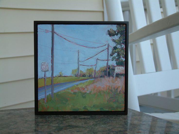 Landscape as Modern Art. Original Plein Air Americana Painting. Contemporary framed art. OOAK Affordable wall decor. Small. Modern. Roadtrip by SarahsArtScene on Etsy