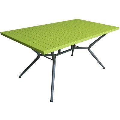 table de jardin 4 personnes verte table chaise salon de jardin mobilier - Salon De Jardin Mtal Color