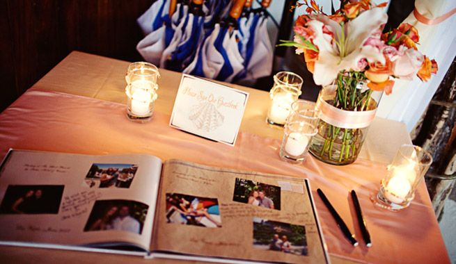 great idea for guest book all you needs is a Polaroid camera, tape or some kind of sticker, makers, and of course the book.