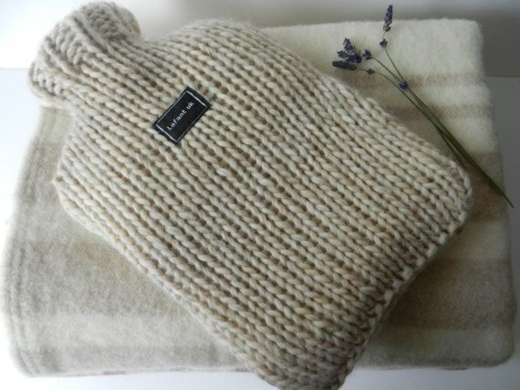 hot water bottle cover pure wool cream beige chunky by CraftyMrsP, $26.00