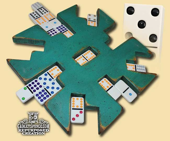 """GadgetSponge.com - Repurposing, Upcycling, Birds & Nature - Mexican Train or Chicken Foot Dominoes Game """"Center Starter Hubs"""" made from found wood pieces.  Check them out!  https://www.etsy.com/shop/GadgetSponge"""