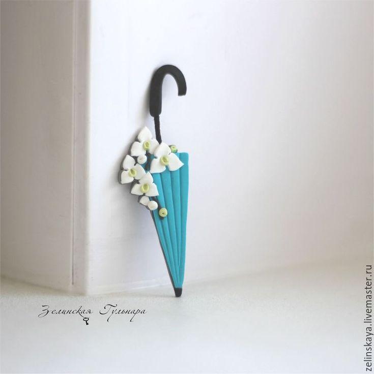 Купить Зонтик с белой орхидеей. Брошь - бирюзовый, белый, орхидея, брошь зонтик, зонт, романтичная