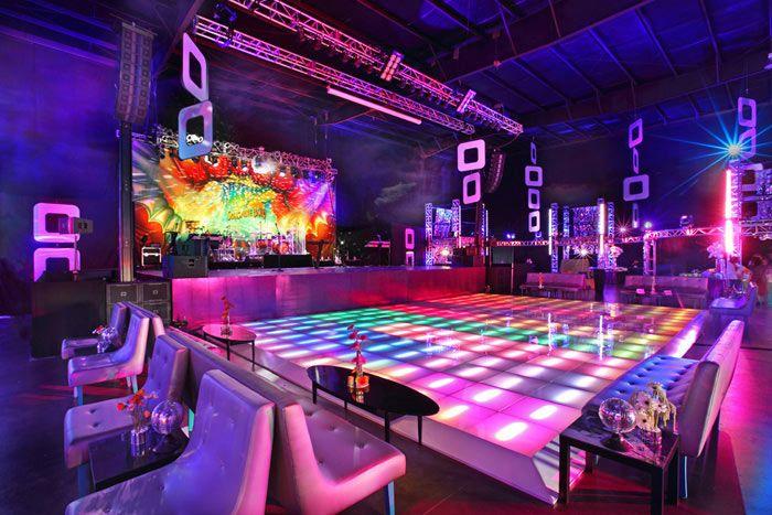 Studio 54 - perfect dance floor!  Guests danced on a colorful, light-up dance floor.