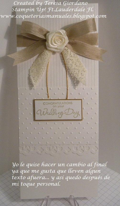 Tarjeta de Matrimonio. Tutorial gratis en Español en www.coqueteriasmanuales.com  haz click en el vinculo para entrar a copiarlo