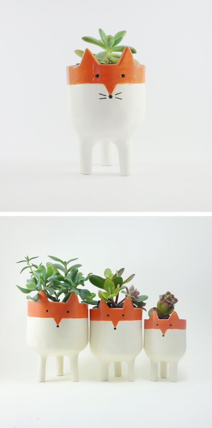 Little Tripod Fox Planter, Fox Face Plant Pot, Handmade Ceramic Studio Pottery, by Minky Moo Ceramics on Etsy. Australian Design. Christmas gift. Holiday gift. For the home. Stocking stuffer.