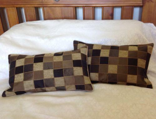2 New boudoir cushion covers Brown taffeta satin chenille  RRP £17 each
