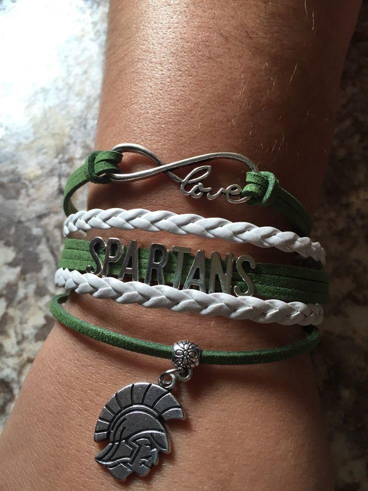 MSU spartans sports bracelets sports sparty college msu spartans jewelry