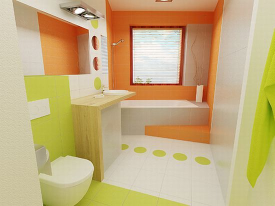 Green And Orange Bathroom Decorating Ideas