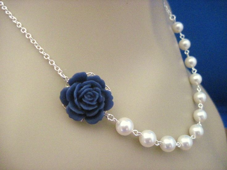 Bridesmaid Necklace Navy Blue Rose and Pearl Wedding Jewelry. $20.00, via Etsy.